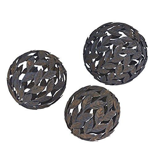 Household Essentials Dekokugeln aus Metall, Blatt-Design, Bronze, 3 Stück -