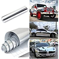 CVANU Gloss Chrome Mirror Vinyl Car Wrap Sticker with Air Release Bubble Free Anti-Wrinkle CV-77 12''x100''inch