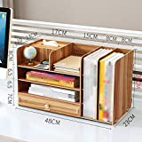 QFFL zhuomianshujia Desktop-Aufbewahrungsbox Holzfeilen Rack Büro Regal Papiertuch (3 Farben) Bücherregale (Farbe : Kirschholz)