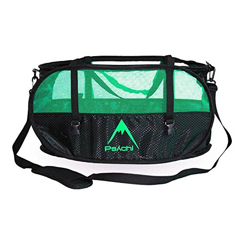 Bolsa para cuerdas de escalada Psychi con tirantes para su transporte y correas de ajuste, verde