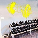 Adesivo da parete con motivo a bilancieri per accessori decorativi murale Adesivi per attrezzature sportive Vinile impermeabile Decorazioni per la casa giallo 84 cm x 58 cm