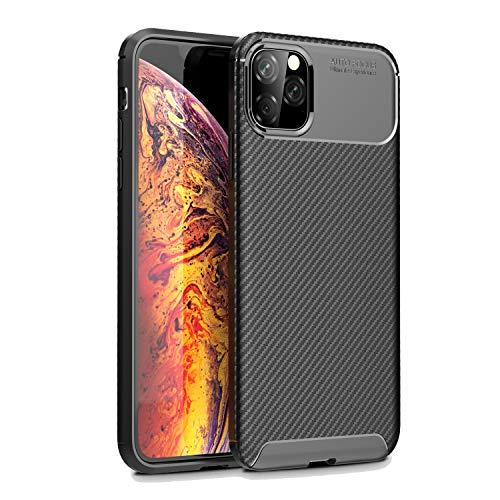 Olixar Schutzhülle für iPhone 11 Max, Karbonfaser, stoßfest, schlankes Design, kabelloses Aufladen, Schwarz Schlankes Design