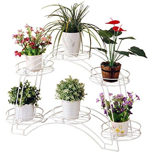 ICTYPM Blumenständer Weiß Schmiedeeisen Blume Fach Rahmen Doppel Topf Rack Wohnzimmer Boden Lagerung Regal, 54 * 88 * 22,5 cm Blumenkunst, Blumentopf - Lagerung Topf Rack