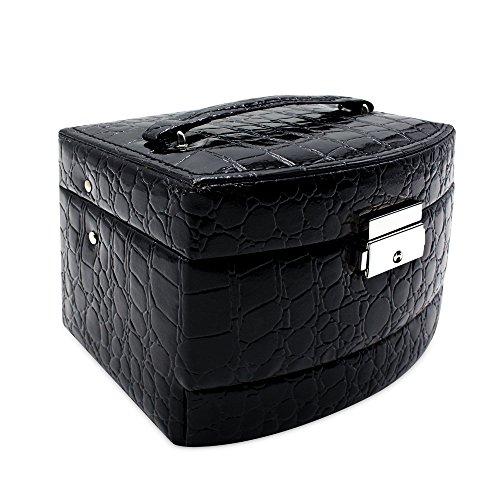 Mermaid Monili di cuoio goffrato grano del coccodrillo finto Organizer- Fashion Box cosmetici caso Hanging con scomparti separati (nero)