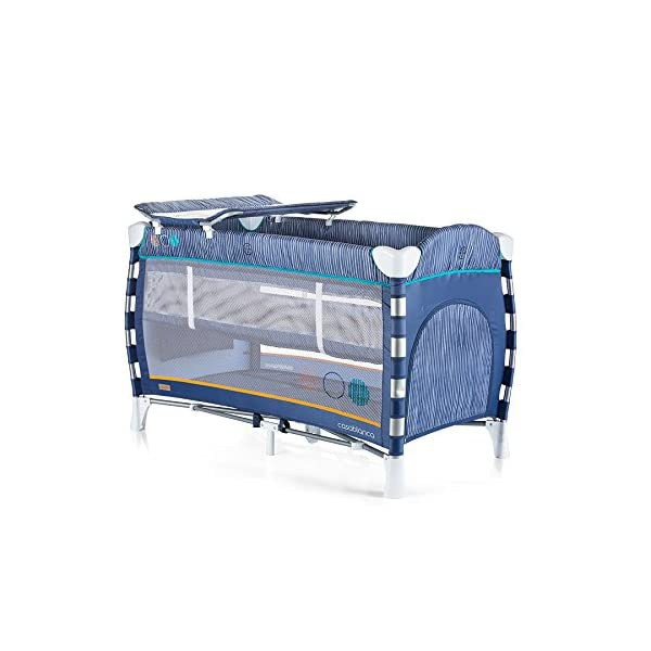 Chipolino travel cot Casablanca, changing mat, accessory bags, side entrance blue Chipolino Includes a soft luxurious changing mat Side entrance with zipper creates additional comfort for the child Practical side storage for diapers and other accessories 2