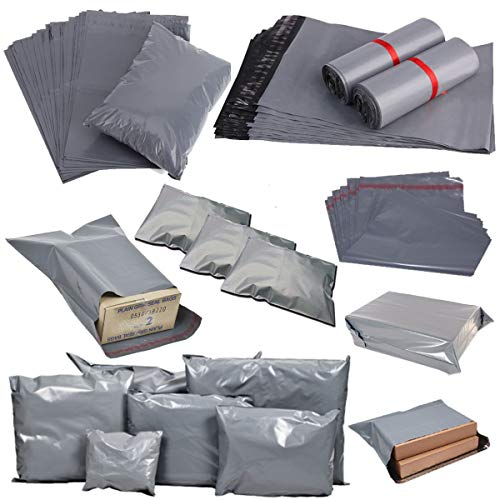 Comtechlogic Stark Versandtasche - klebend selbst versiegelnd Lasche - Poly Plastik Polyäthylen für Post Verpackung Kurier Mail Säcke - Ultra Premium Qualität - Größe - 250x300mm - 10x12 Zoll - grau (10x12 Poly Mailer)