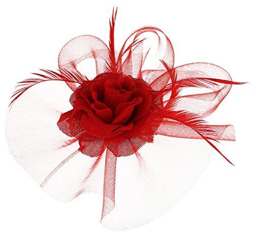 tors Hut Blumen Elegant Brauthut mit Feder Haar Clip Hut Haarschmuck Rot ()