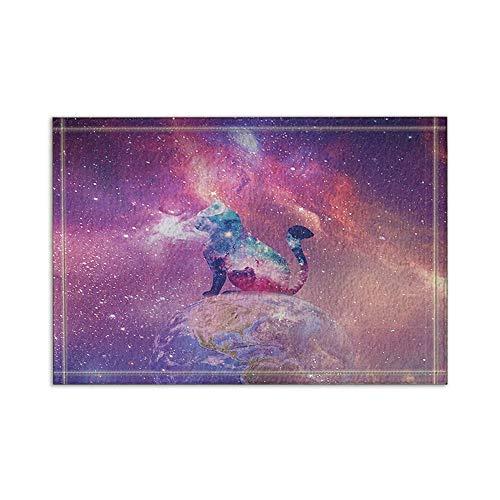 MMPTn Space Nebula in der Cosmos Universe Galaxy Katzen-Silhouette auf Erden Solarbadeteppiche rutschfeste Fußbodeneingänge Außen-Innentürmatte 15,7 x 23,6 Zoll Badteppiche