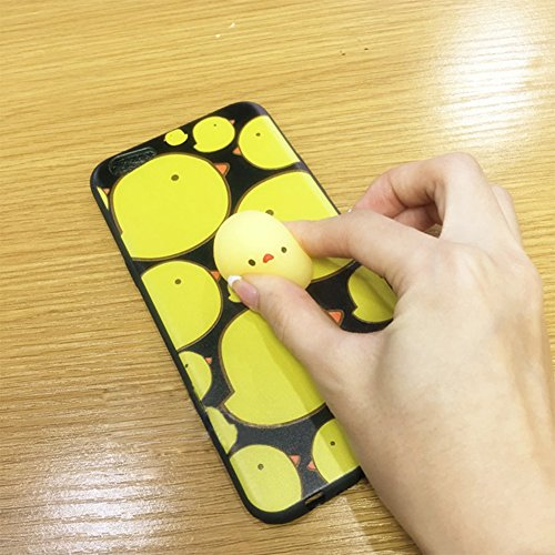 Coque iPhone7,Aliyao iPhone case Étui en plastique squishy 3D Squishy avec Soft Silicon Cute Animal Squeeze Stress Reliever Phone Cover pour iPhone 6/6S Plus,iPhone7/7Plus (iPhone7, chat 5) poussin1