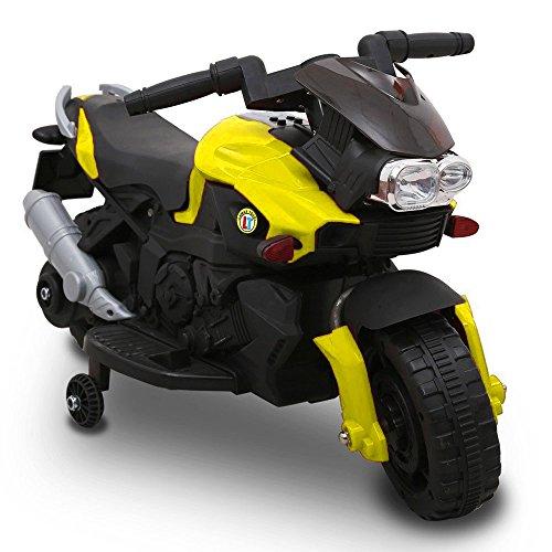 Moto Elettrica Per Bambini Sprint 6V Giallo Controllo a Pedale Luci e Suoni Bakaji