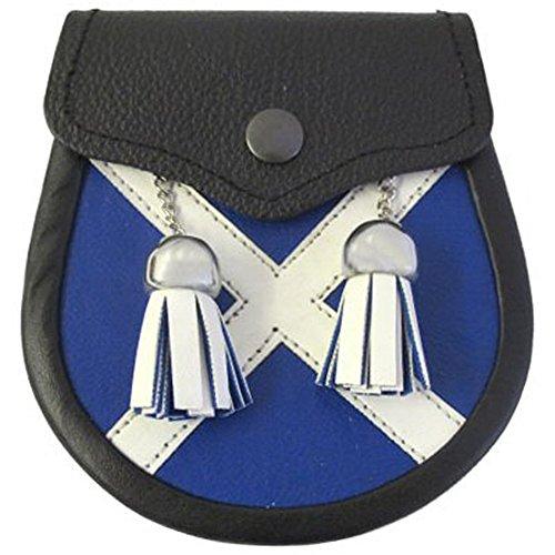"""Sporran para kilt escocés Tiene 2 borlas blancas de cuero con cadenas Medidas 13 x 14 cm (5"""" x 5,5"""") Presenta una insignia de un cardo en la solapa Viene con un par de correas para el sporran gratuitas"""