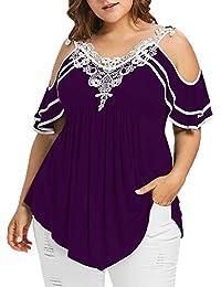 Damark(TM) Ropa Camisetas Mujer, Camisas Mujer Verano Elegantes Strapless Encaje Casual Tallas