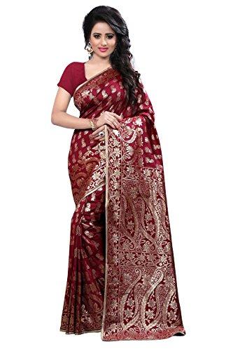 Shree Sanskruti Women's Tussar Silk Saree With Blouse Piece (Banarasi 1005 Maroon_Maroon)