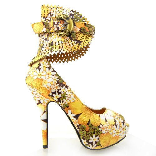 Visualizza Story Multicolore Motivo floreale / Animal Gladiator Platform Pumps, LF30402 Giallo