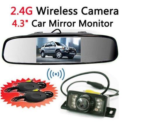 Bw® - specchietto retrovisore da auto, wireless, con sensori parcheggio e sistema di videocamera notturna, lcd, 4,3