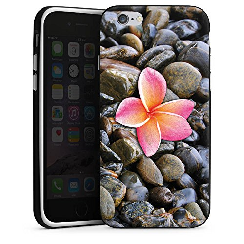 Apple iPhone X Silikon Hülle Case Schutzhülle Blüte Pink Kiesel Silikon Case schwarz / weiß