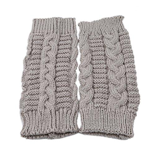 VWH Strick Armstulpen Pulswärmer fingerlos Handschuhe Damenhandschuhe Winterhandschuhe Fäustlinge Fausthandschuhe (leicht grau)