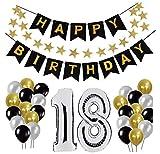 18 Geburtstag Dekoration Set, Deko Geburtstag, Geburtstagsdeko, Happy Birthday Dekoration. Zahlen Luftballons Silber 101cm + 24 Große Geperlte Ballons + 1 Happy Birthday Banner