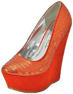 Kiss&Tell Kaylin-01 Orange Women Wedge Pumps, 8 M UK