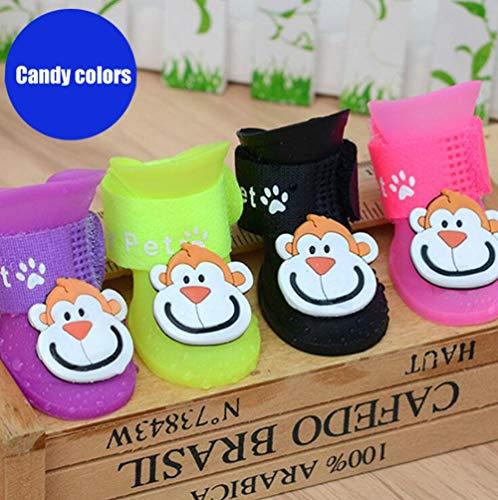 Hund Regen Stiefel Jelly Wasserdichte Schuhe Teddy Hund Anti - Rutsch Soft Soles Füße Sets, S ()