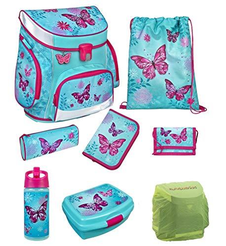 Familando Scooli Mädchen Schulranzen-Set 8 TLG. Campus Fit mit Federmappe, Dose, Flasche und Regenschutz Butterfly türkis