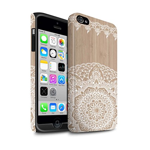 STUFF4 Matte Harten Stoßfest Hülle / Case für Apple iPhone 7 / Mandala Muster / Fein Spitzenborte Holz Kollektion Bambus