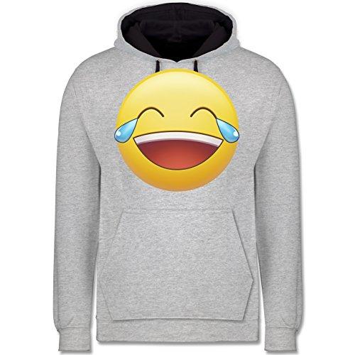 Statement Shirts - Tränen Lachen Emoji - Kontrast Hoodie Grau meliert/Dunkelblau