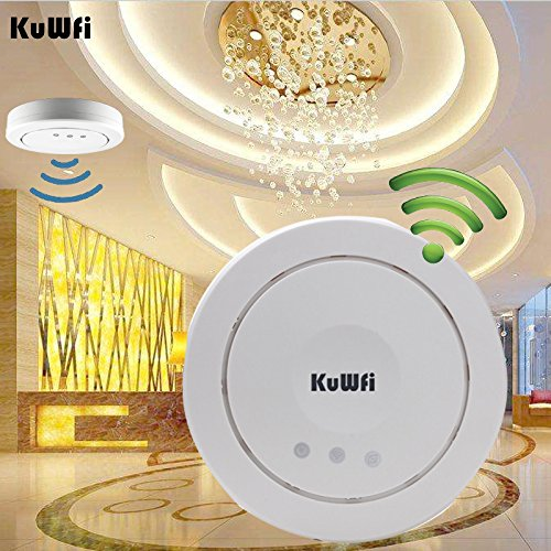 KuWFi WLAN-Repeater, 300Mbps Decke AP Wifi Router Wireless Access Point Poe Router Deckenmontage Poe Access Point Repeater Baut in 5dBi Antenne VLAN & Poe Support Access Point Netzwerkbrücke