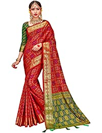 375f4a12d6 HEART N SOUL Indian Bollywood Sarees for Women Patola Silk Woven Saree l  Tradional Wedding Wear