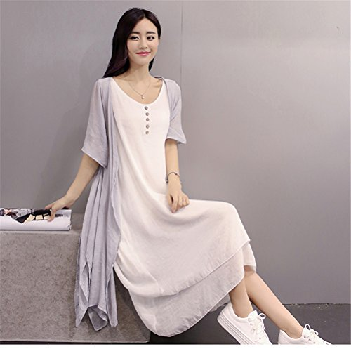 Womens Retro Summer Chinese Style lâche Casual Cotton Linen Beach Dress + Cardiagn Gris