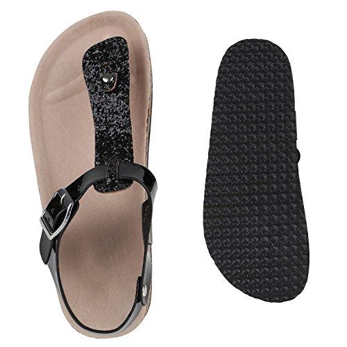 Bequeme Damen Sandalen | Zehentrenner Glitzer Metallic | Komfort-Sandalen Kork | Bequemschuhe | Strandschuhe Schnallen Schwarz Schnalle Glitzer