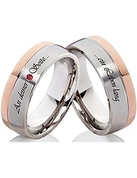 Verlobungsringe Eheringe Trauringe Edelstahlringe mit einem Zirkonia und individueller Aussenlasergravur H205