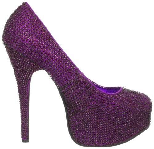 Pleaser Teeze-06R, Damen Pumps Purple Satin RS