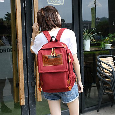 Frauen Rucksack Canvas Cross-Seasons lässig Schaufel Zipper Navy Blau Rot Grau Schwarz Wearproof Red