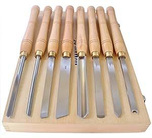 Mymaw Kit de 8 couteaux de tournage en acier HSS