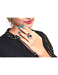 Gold Plated Classic Floral Adjustable Ring With American Diamond Crystal For Women And Girls - B07F94GTS2