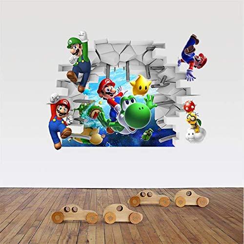 WUDHF Cartoon Aufkleber Super Game Mario Wandaufkleber Für Kinderzimmer Schlafzimmer Kinder Geschenk Kinder Wandaufkleber Schlafzimmer Wohnkultur