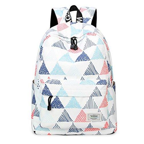 Imagen de acmebon  escolar unisex y de ocio impermeable  cartera escolar para niñas y niños con lindo estampado triángulo