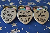 Happy Birthday Nan Gift. Set of 3 Silver Mini Heart Tins Filled With Chocolate Dragees. Perfect Birthday Gift Present .Tin size 45mm x 45mm x20mm. (Nan)