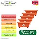 #7: Green and Pure - Premium Quality 13 Inch Rectangular Flower Planter | Planter Pot | Plant Containers Pack of 5 - Brown Colour