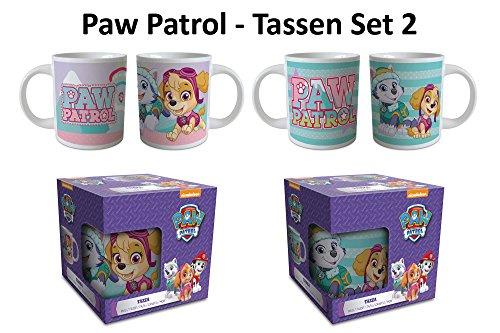 empireposter Paw Patrol - Tassen Set - 2 Keramik Midi Tassen Kinderbecher je 270 ml Kinder Frühstück - Ø 7 H 8 cm Frühstück Becher-set