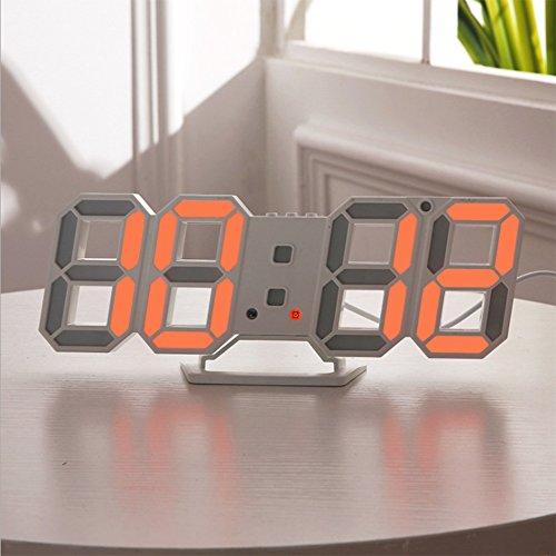 Unbekannt 3D Digital Wecker LED Digit Wall Desktop Regal Für Schlafzimmer Home Office Einstellbare Helligkeit 4 Farben Erhältlich Moderne Dekoration,Orange