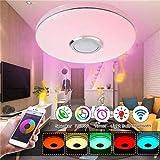 36W enceinte plafond bluetooth luminaire plafonnier Plafond Télécommande + Téléphone APP LED avec Haut-parleur Bluetooth lumi