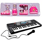 New Pinch Combo Of 37 Key Piano Keyboard Toy With DC Power Option, Recording And Mic With Educational Household Set Juicer, Coffee Maker, Water Dispenser And Toaster- Set Of 4 Role Play Toy For Kids