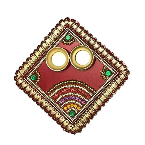Spiritual World Square Shape Acrylic Roli Tika Pooja Thali (6 inches) by -