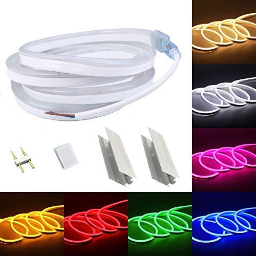 VAWAR 1m Neon Seil Strip - Weiss, sehr flexibler LED Streifen - je nach 2,5 cm abschneidbar, helle 2835 SMD, DC 12V, IP65 wasserdicht, für leuchtende Schriften Schild Emblem Logo