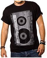 Retro Music T-Shirt for Men CASSETTE TAPE Black S-XXXL