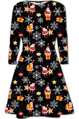 être Jaloux Flirty Wardrobe Robe Noël Swing Funny Penguin Bonhomme de neige Santa Robe Top Père-Noel et Présents Noir