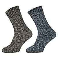 Tobeni 4 Pairs of thick warm Norwegian Socks Pre-washed Winter Wool Socks for Women and Men
