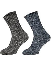 Tobeni 4 Paires de Chaussettes chaudes Norvegiennes epaisses Pre-lavees Chaussettes en Laine Hiver pour les Femme et les Homme